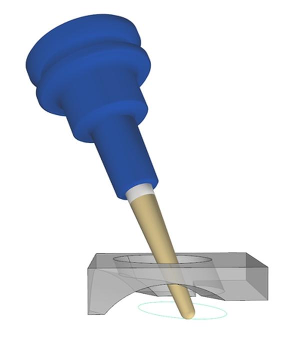 Novinkou v pětiosém obrábění je nástroj Vodící křivka, díky níž může být nástroj veden buď horní nebo dolní křivkou. Foto: ModuleWorks