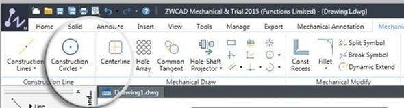 ZwCAD Mechanical 2015 získal přehlednější pás karet. Foto: ZwSoft