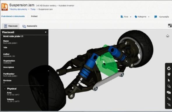 Přímočaré rozhraní nové cloudové služby Autodesk A360 Drive – ukázka zobrazení vlastností prvků sestavy.