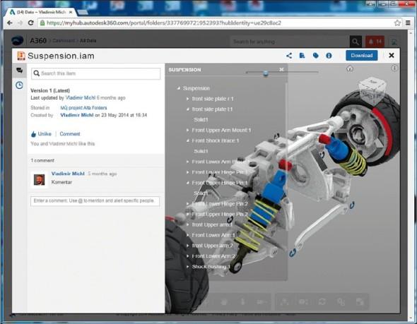 Cloudové řešení Autodesk A360 Team usnadňuje týmovou spolupráci, nabídne i strom rozpadu sestavy CAD modelu.