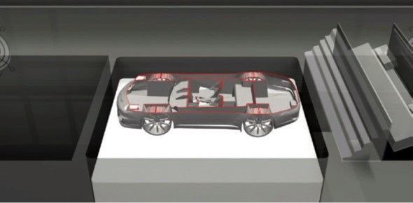 Vizualizace pohledu do stavební komory tiskárny, kde vzniká prostorový model spojováním termoplastického prášku (vpravo).