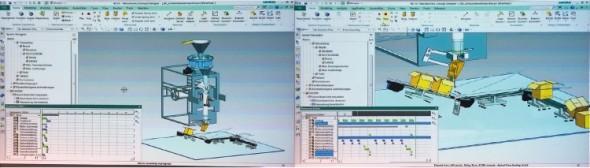 """""""Herní"""" technologie umožňuje v NX 10 vizuálně simulovat kinematiku výrobních procesů, včetně kolizí na lince v případě nastalé chyby."""