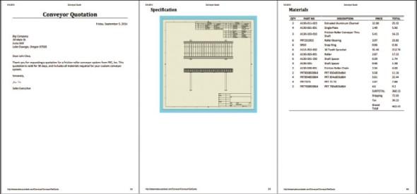 Dokument cenové nabídky se generuje automaticky a kromě rozpisu položek obsahuje také výkres sestavy.