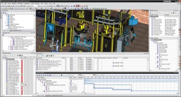 Pracovní prostředí aplikace Process Simulate.
