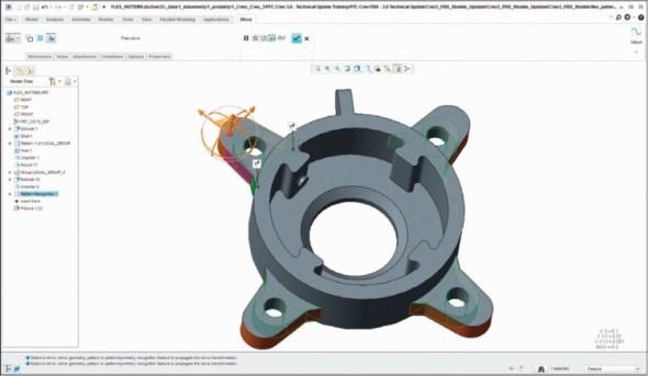 Flexibilní modelování umožňuje přímou editaci geometrie včetně možnosti řídit okrajové podmínky. Flexible Modeling rozpozná a automaticky detekuje pole prvků a aplikuje na ně prováděné změny.