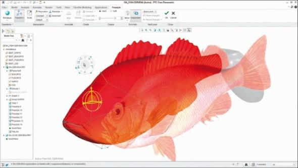 Model návnady – wobleru pro lov mořských ryb na udici vytvořený pomocí nástrojů volného modelování.