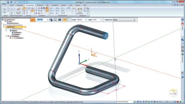 Vytváření 3D skic je nyní mnohem svobodnější, bez potřeby vytvářet pracovní roviny a podobně.