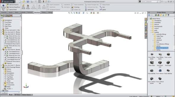 Modul Routing je rozšířen o podporu tras pro vzduchotechniku, topení apod., které vyžadují čtvercové a obdélníkové profily.