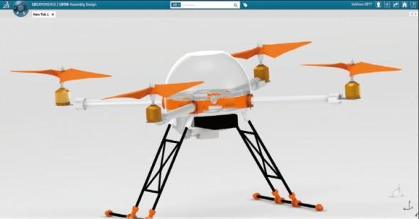 Virtuální prototyp kvadrokoptéry zkompletovaný v on-line aplikaci Catia Assembly Design.