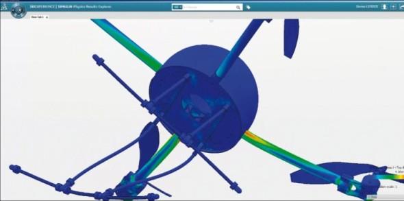 Výsledek analýzy konstrukce dronu při pádu simulovaném v cloudovém rozhraní systému Simulia.