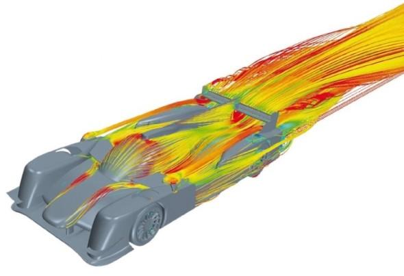 Analýza proudění vzduchu nad horní částí automobilu.