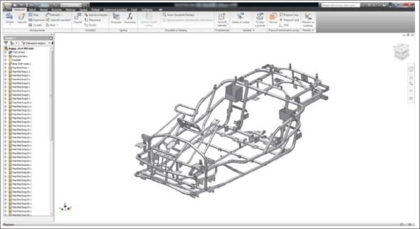 Model rámu experimentálního vozidla v Autodesk Inventoru.