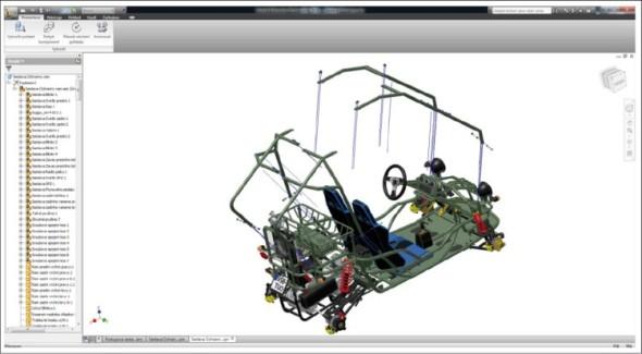 Model rozložené sestavy v prostředí prezentace Inventoru.