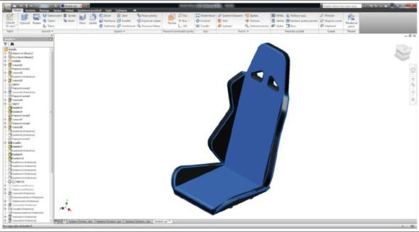Model sedadla v prostředí softwaru Inventor.
