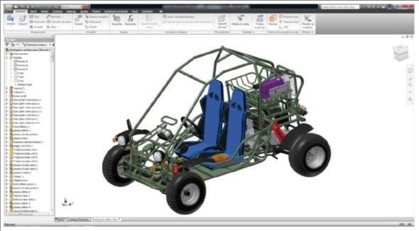 Ukázka modelu Buggy 260 v prostředí sestavy v Inventoru.
