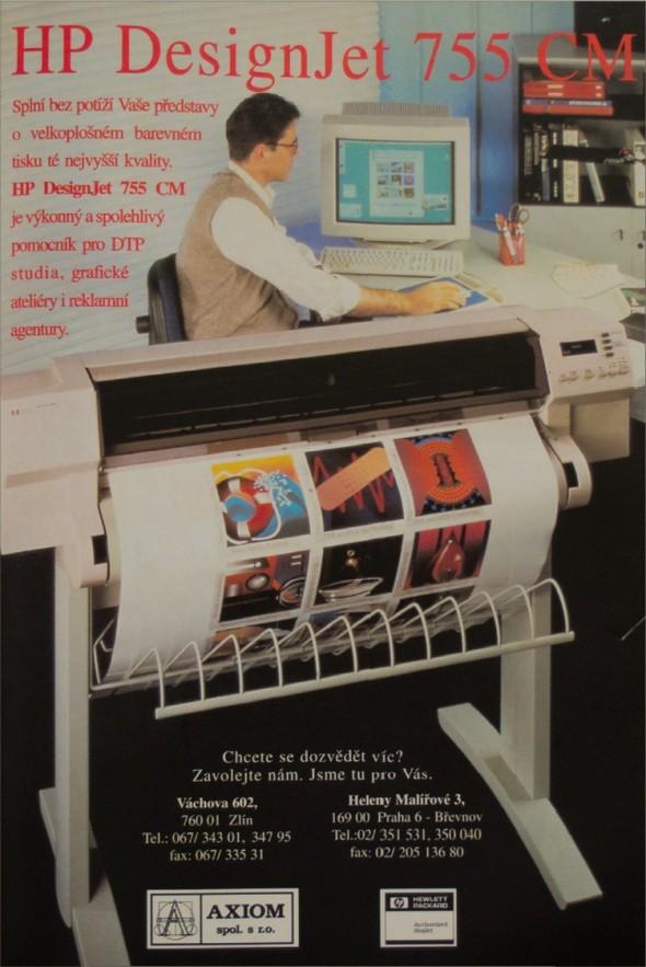 Dobový inzerát na velkoformátovou tiskárnu.