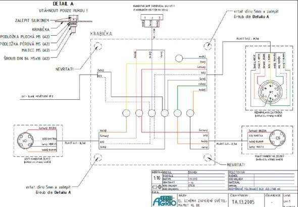 Elektrické schéma osvětlení postřikovače připravené v aplikaci AutoCAD Mechanical.