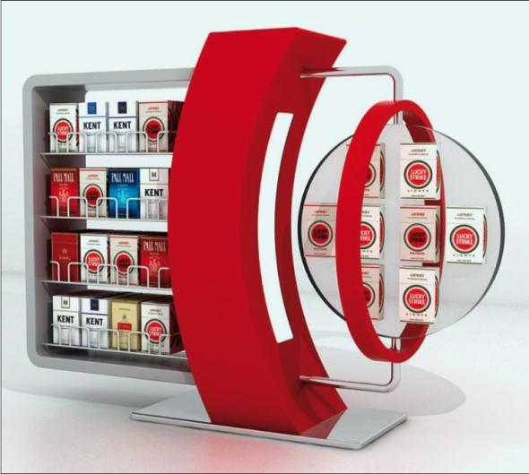 Skutečnost, že dobrý design prodává, platí dvojnásob u prodejních stojanů, jako je třeba tento pro značku cigaret Lucky Strike.