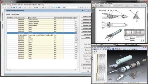 Uživatel informačního systému snadno dohledá 3D náhledy dílů i sestav, které se zde mohou generovat automaticky.