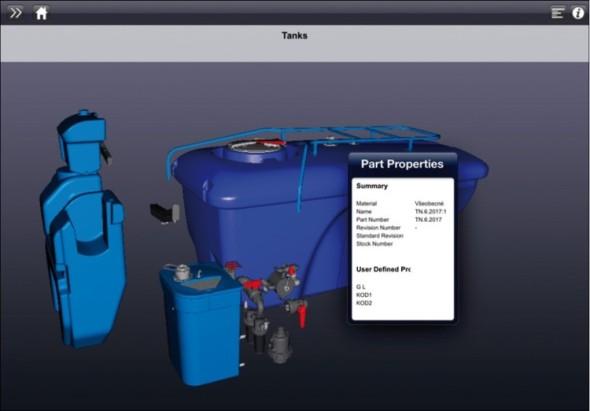 Ukázka z 3D katalogu náhradních dílů, připraveného v aplikaci Inventor Publisher, ve zobrazení na mobilním zařízení.