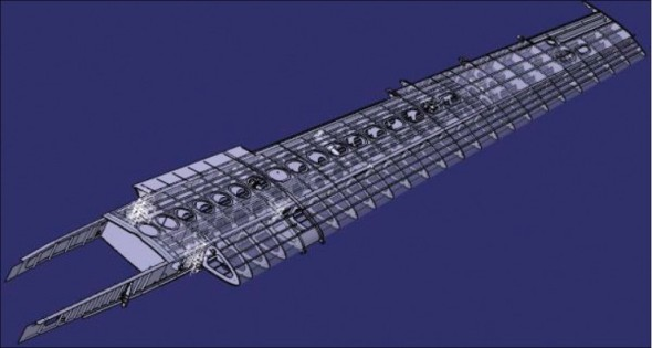 Koncepční návrh modernizovaného křídla letounu.