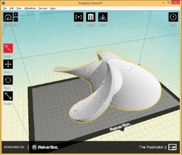 Zdarma dostupný software MakerWare, který slouží k přípravě modelů pro tisk, zvládne používat i naprostý laik.