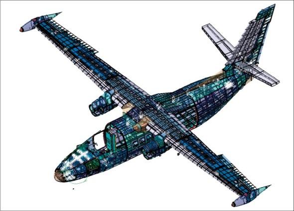 Detailní 3D model letadla L-410 NG vzniká v softwaru Catia V5 PLM Express.