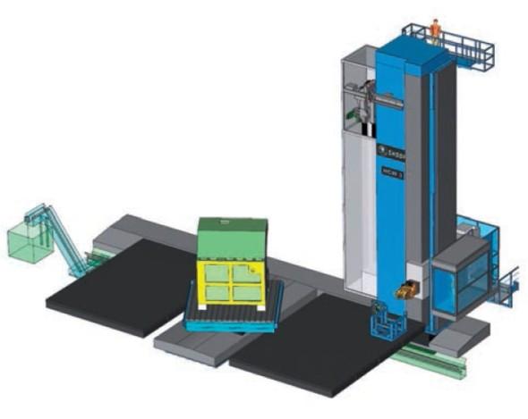 Počítačový model horizontálního obráběcího stroje HCW3 od Škoda Machine Tool.
