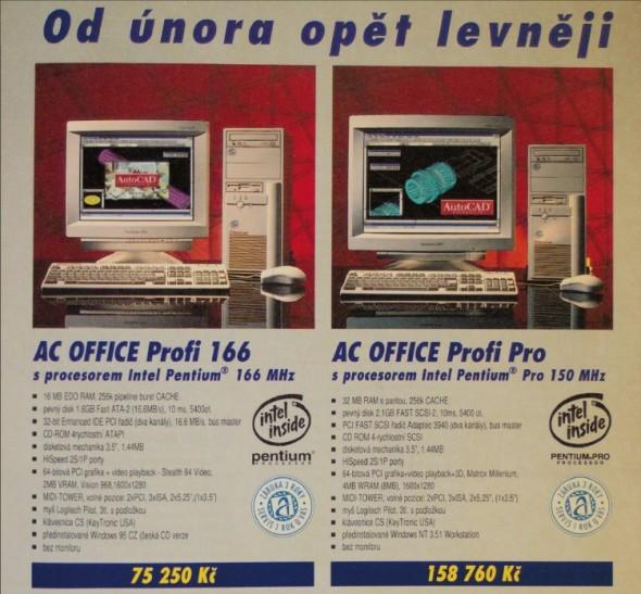 Inzerát společnosti AutoCont z roku 1996, nabízející počítače pro uživatele CAD softwaru.