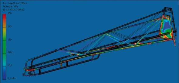 Ukázka průběhu napětí ve vnějším rameně postřikovače (simulace v prostředí Inventoru, síly dány dynamickou analýzou).