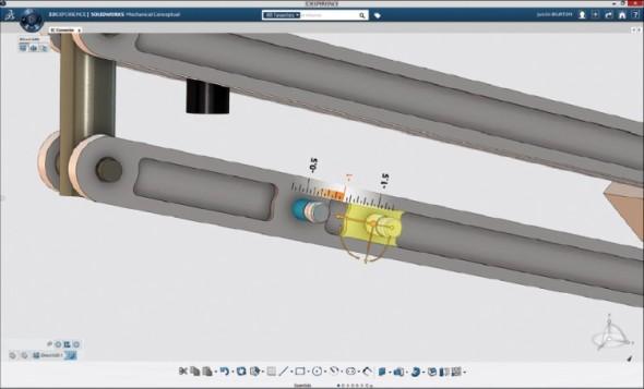 Docela jednoduché uživatelské rozhraní SolidWorks Mechanical Conceptual pomáhá soustředit se na to podstatné, tedy na návrh.