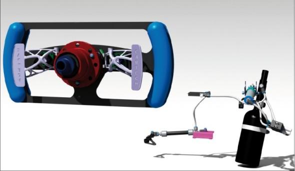 Sestava elektro-pneumatického řazení ve 3D modelu s optimalizovanými pádly.