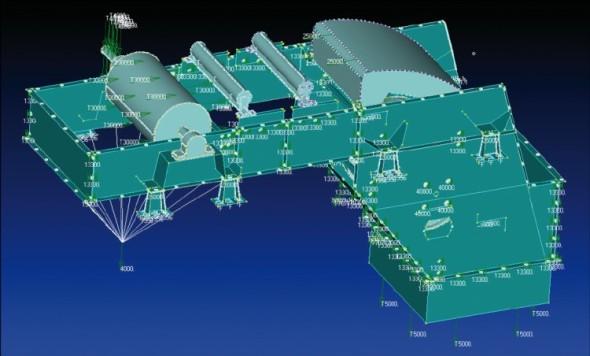 Ukázka podsestavy samonosné plechové konstrukce, připravené pro zpracování ve Femapu.