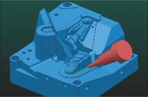 Ukázka simulace obrábění v CAM systému PowerMill na jedné ze zakázek společnosti Linaplast.