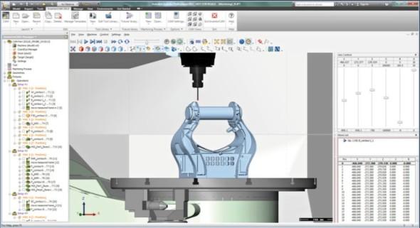 Vizualizace sondy ve strojní simulaci softwaru InventorCAM.