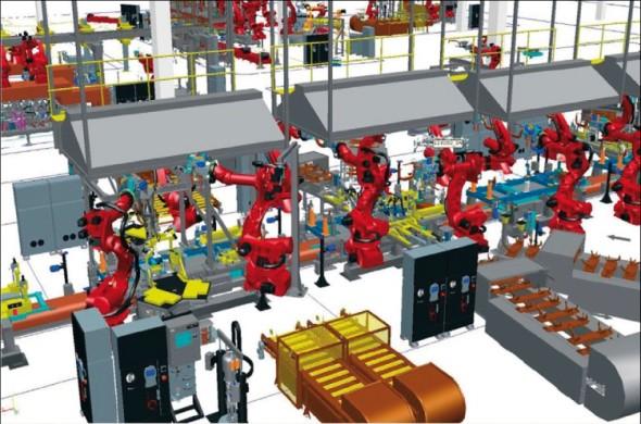 Simulace karosářské linky Volvo Cars v aplikaci Process Simulate, v níž je naprogramováno souběžně několik způsobů svařování a lepení.