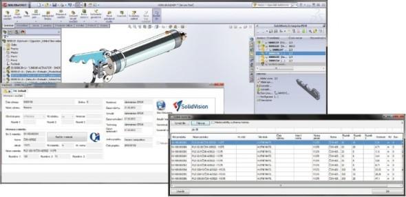 Ze systému správy dat vede přímá cesta k aktuálním výrobním podkladům uloženým v CAD softwaru SolidWorks.