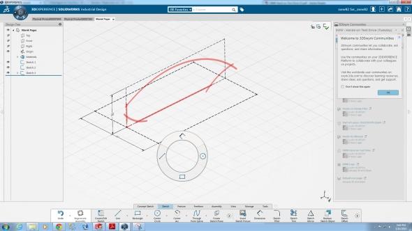 Pro rychlou aktivaci příkazů se vSolidWorksu Industrial Design používají gesta myši. Screenshot: Marek Pagáč
