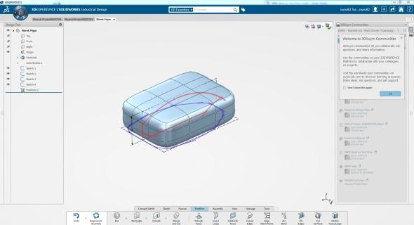 Modelování komplexního tvaru vychází ze základního tělesa umístěného do náčrtu. Screenshot: Marek Pagáč