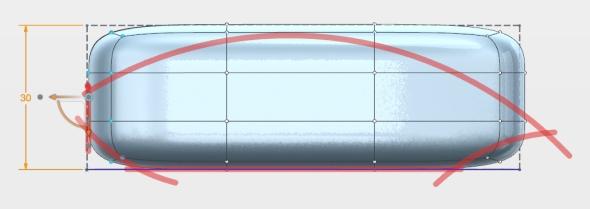 """Koncovými body objemového tělesa a funkcí """"chyť a pusť"""" se formuje obrysu náčrtu. Screenshot: Marek Pagáč"""