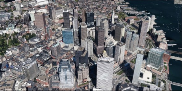 Cloud umožňuje pracovat s ohromnými objemy dat i na málo výkonném zařízení (ukázka virtuální 3D Země z Google Earth).
