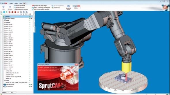 CAM systém SprutCAM 8 s modulem Robots umožňuje programovat obrábění s pomocí průmyslových robotů.