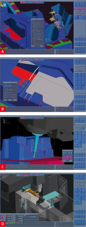 Ukázka práce v CAM softwaru Tebis: (A) snadné oddělení tvarově složitých kapes; (B) vyplnění komplexních otvorů po kapsách; (C) vizualizace zbytkového obrábění po konverzi 3to5AX; (D) simulace obrábění podvozkové nohy na portálovém obráběcím stroji.