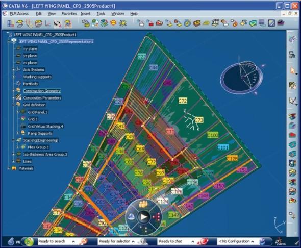 Nástroje Catia Composites Engineering pomáhají s vývojem a návrhem využití kompozitních struktur.