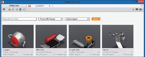 Cloudový Fusion 360 je díky klientské aplikaci možné omezeně využívat i v off-line režimu, když nemáte připojení k internetu.