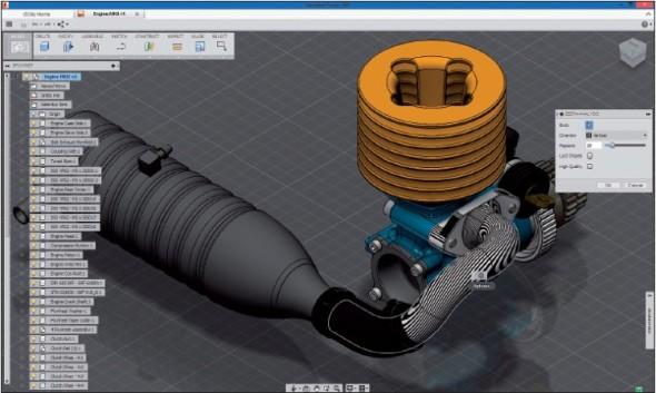 Nabídka funkcí aplikace Fusion 360 působí na první pohled stroze, postupně se však rozšiřuje a již nyní pokrývá většinu nástrojů nezbytných pro produktivní práci.
