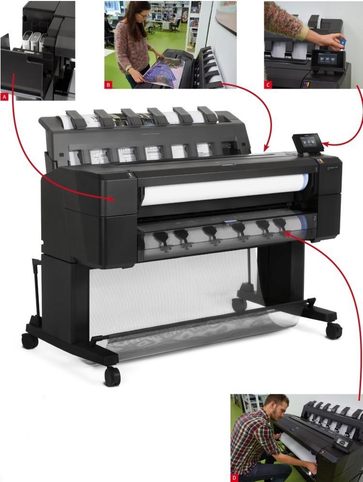 Vyšší typ tiskárny HP Designjet T1500 (na fotografii) se oproti T920 liší tím, že pojme dvě role papíru a díky dvojnásobku operační paměti (64 GB virtuálně) je navíc rychlejší při zpracování digitálních dat. Dodávána je též verze vybavená PostScriptem, doplněná o 320GB harddisk. Všechny modely používají shodnou tiskovou hlavu HP 727 a dva zásobníky na celkem šest inkoustů (3 barevné, 3 černé/šedé). Inkoustové kazety jsou k dispozici v objemech 40 a 130 ml, matná černá také ve 300 ml (obr. A). Ergonomické provedení tiskáren s rovnou horní plochou, která je částečně z průhledného plastu, takže umožňuje sledovat průběh tisku, prakticky poslouží pro rychlou revizi hotových výtisků (obr. B). Pro přímé ovládání tiskáren slouží barevný dotykový displej s jednoduchým rozhraním, ke kterému lze připojit přenosný datový nosič přes USB (obr. C). Přístup k papírovým rolím zepředu významně usnadňuje jejich zakládání (obr. D), přičemž na druhé straně se o výstupy stará masivní žebrovaný zásobník na hotové výtisky.
