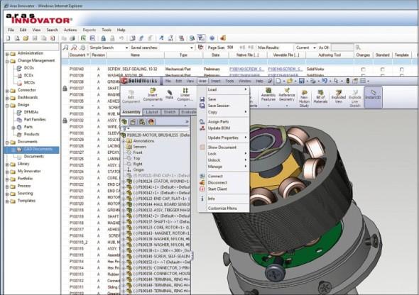 Integrace PLM systému Aras Innovator v SolidWorksu.