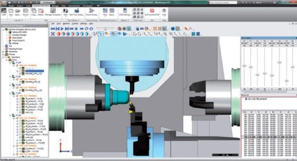 Integrovaný editor umožňuje editovat dráhu nástroje pro 2D a 3D frézování a soustružení.