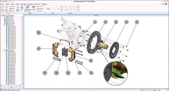 Pokud je ilustrace vytvářena jako rozpad pro katalog náhradních dílů, je automaticky vytvářen také interaktivní kusovník.